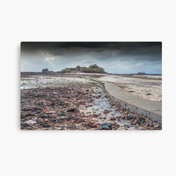 Red pebbles at Elizabeth Castle Jersey Canvas Print