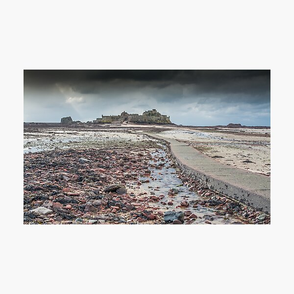 Red pebbles at Elizabeth Castle Jersey Photographic Print