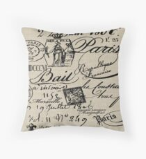 French Script Pillow Throw Pillow