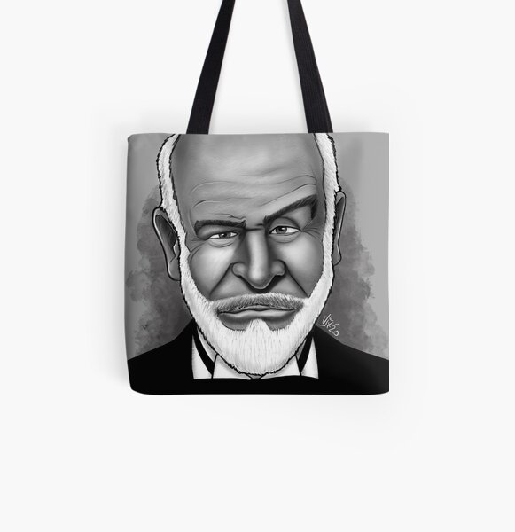 Sean Connery Caricature Portrait All Over Print Tote Bag