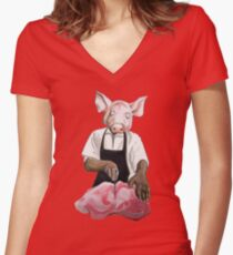 Cannibalpigsm Women's Fitted V-Neck T-Shirt