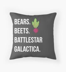 Bears. Beets. Battlestar Galactica. - The Office Throw Pillow