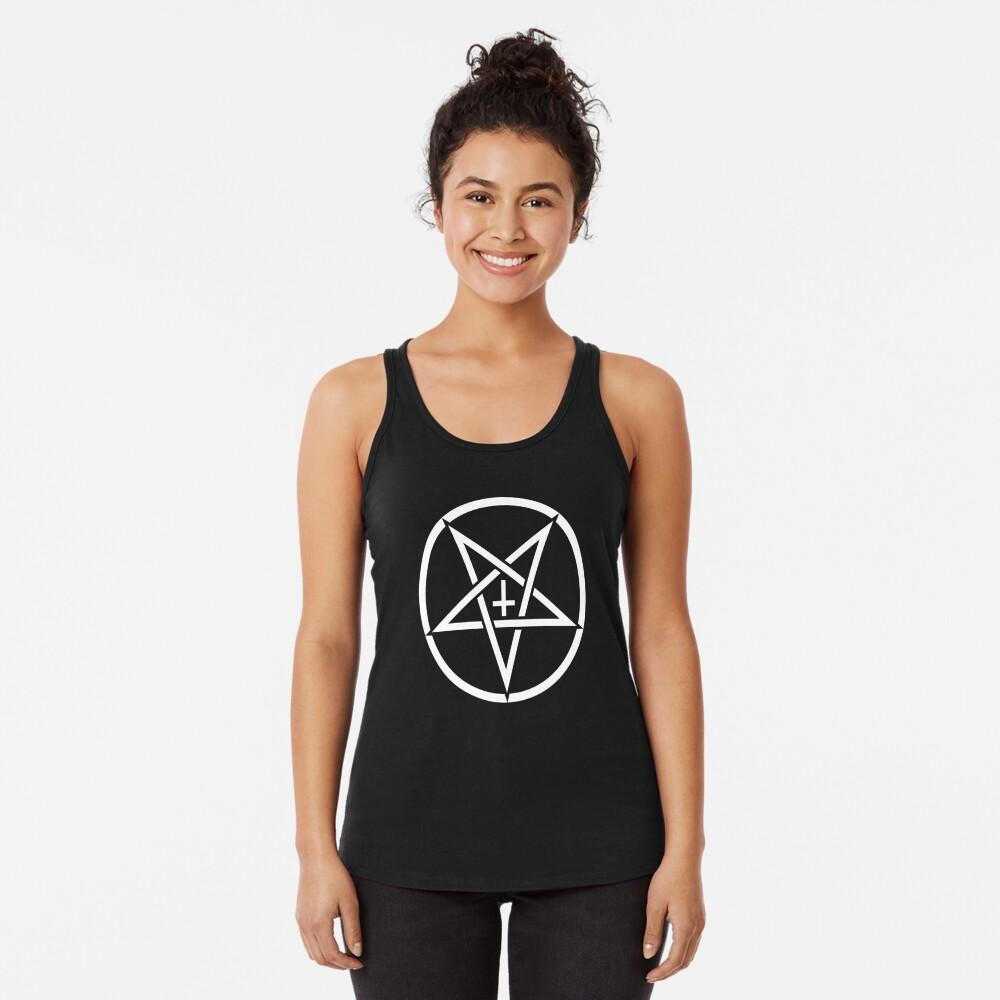 Pentagram con la cruz al revés Camiseta con espalda nadadora