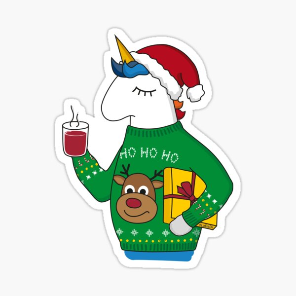Christmas unicorn in an Ugly Sweater Sticker