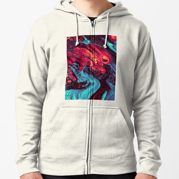 Acrylic Fluid Abstract  Zipped Hoodie