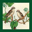 Vintage Birds , Throw pillow  by Irene  Burdell