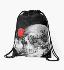 Fire in the dark, night skull Drawstring Bag