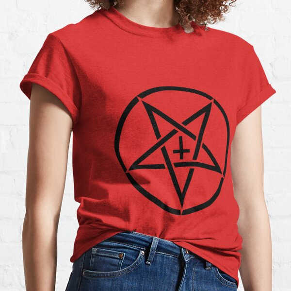 Pentagram with Upside Down Cross Classic T-Shirt