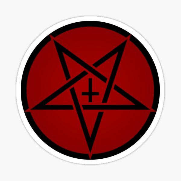 Pentagram with Upside Down Cross Sticker