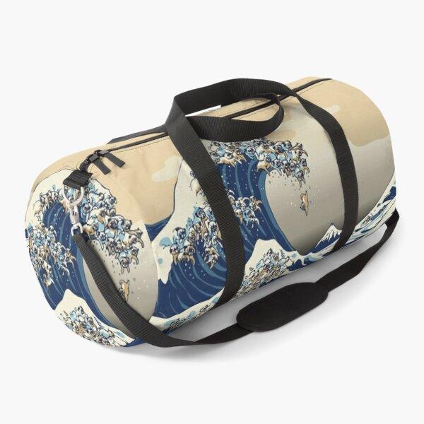 The Great Wave of Pugs Vanilla Sky Duffle Bag