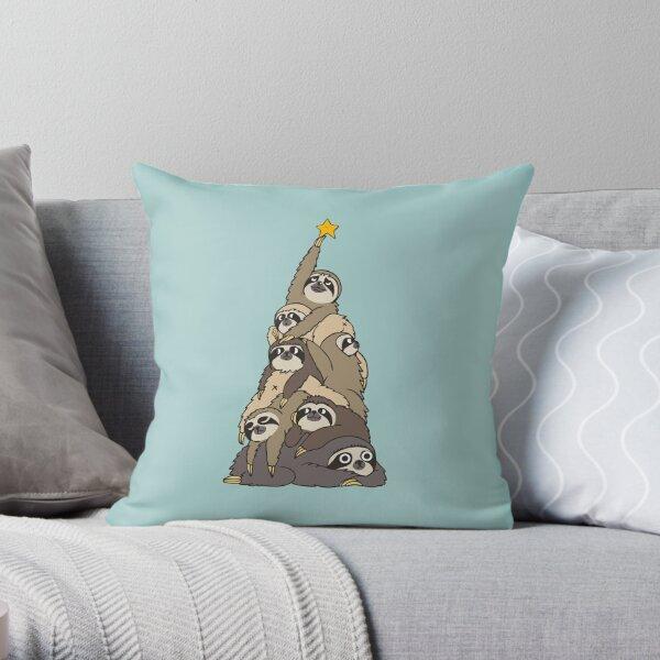 Christmas Tree Sloths Throw Pillow