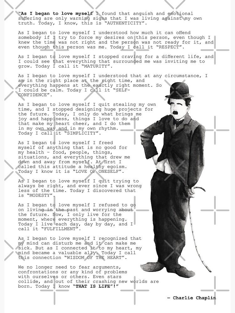 Anfing chaplin ich als mich lieben selbst zu Charlie Chaplin: