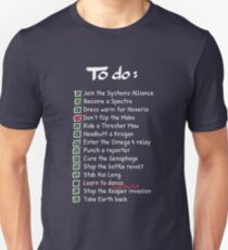 Commander Shepards To-Do List Unisex T-Shirt