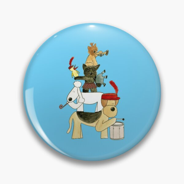 Dog Terrier Marching Band Illustration Pin