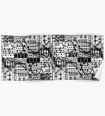 analog synthesizer modular system - black and white illustration Poster