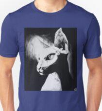 Sphynx Cat Feline Black & White Painting Art T-Shirt