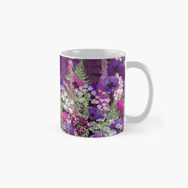 Flower Garden - Purple Poppies, Pink Foxgloves, Ferns Classic Mug