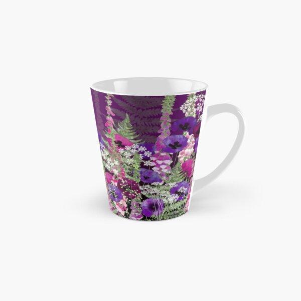 Flower Garden - Purple Poppies, Pink Foxgloves, Ferns Tall Mug