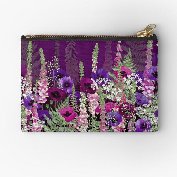 Flower Garden - Purple Poppies, Pink Foxgloves, Ferns Zipper Pouch
