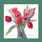 Springtime Tulips Throw Pillow!  (Green Border) by Pat Yager