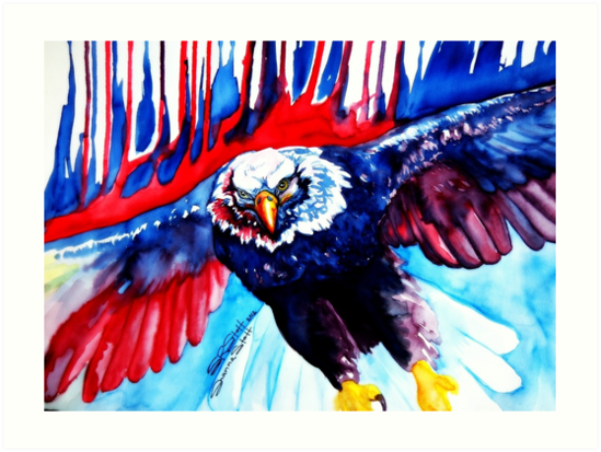 Red White And Blue Bald Eagle Art Art Prints By Shanna Stott