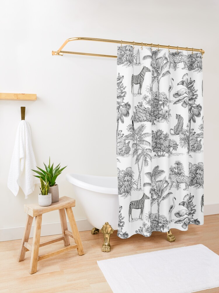 Alternate view of jungle toile  Shower Curtain