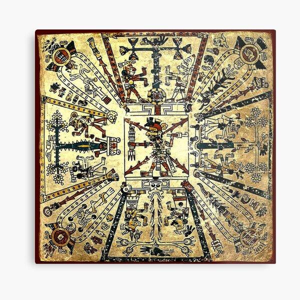 Aztec cosmological drawing with the god Xiuhtecuhtli. Metal Print