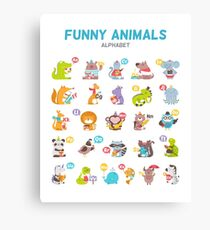 "Alphabet ""Funny animals"" for children's Canvas Print"
