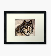 Painted Timber Wolf Artwork  Framed Print