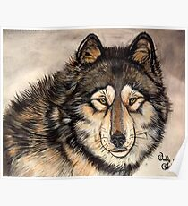 Painted Timber Wolf Artwork  Poster