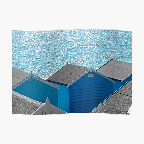 Blue Huts by the Sea Poster