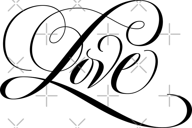Black Flourished Love Calligraphy Script Lettering