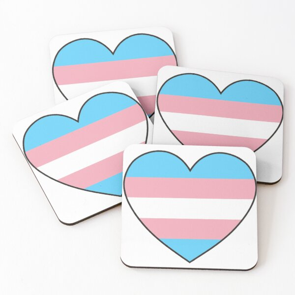 trans pride heart Coasters (Set of 4)