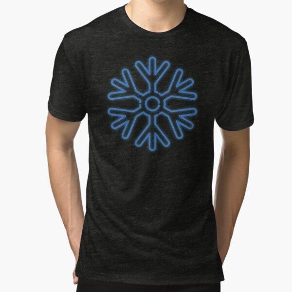 Neon Snowflake Blue Tri-blend T-Shirt