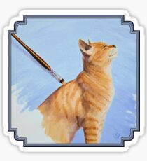 Brushing the Cat - Oil Painting Sticker