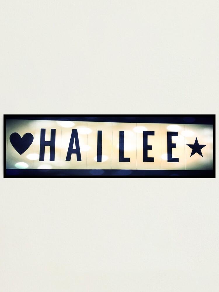 Alternate view of Hailee, Hailee mask, Hailee mug, Hailee travel mug, Hailee socks, Hailee notebook Photographic Print