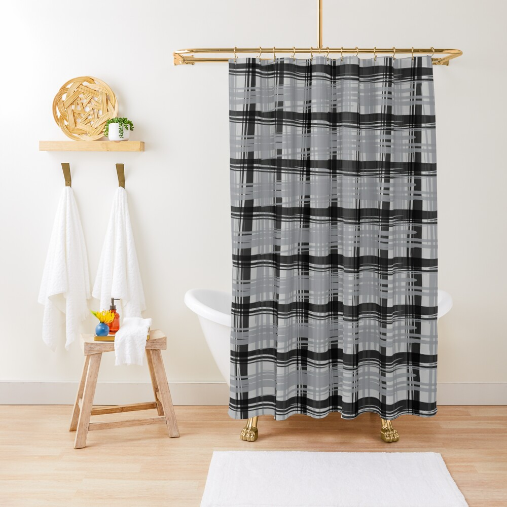 Grey Plaid Shower Curtain