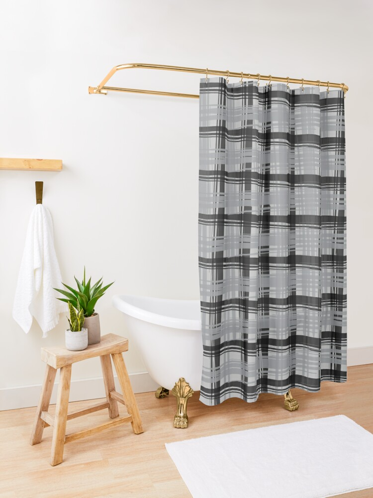 Alternate view of Grey Plaid Shower Curtain