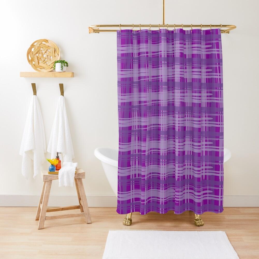 Plum Plaid Shower Curtain