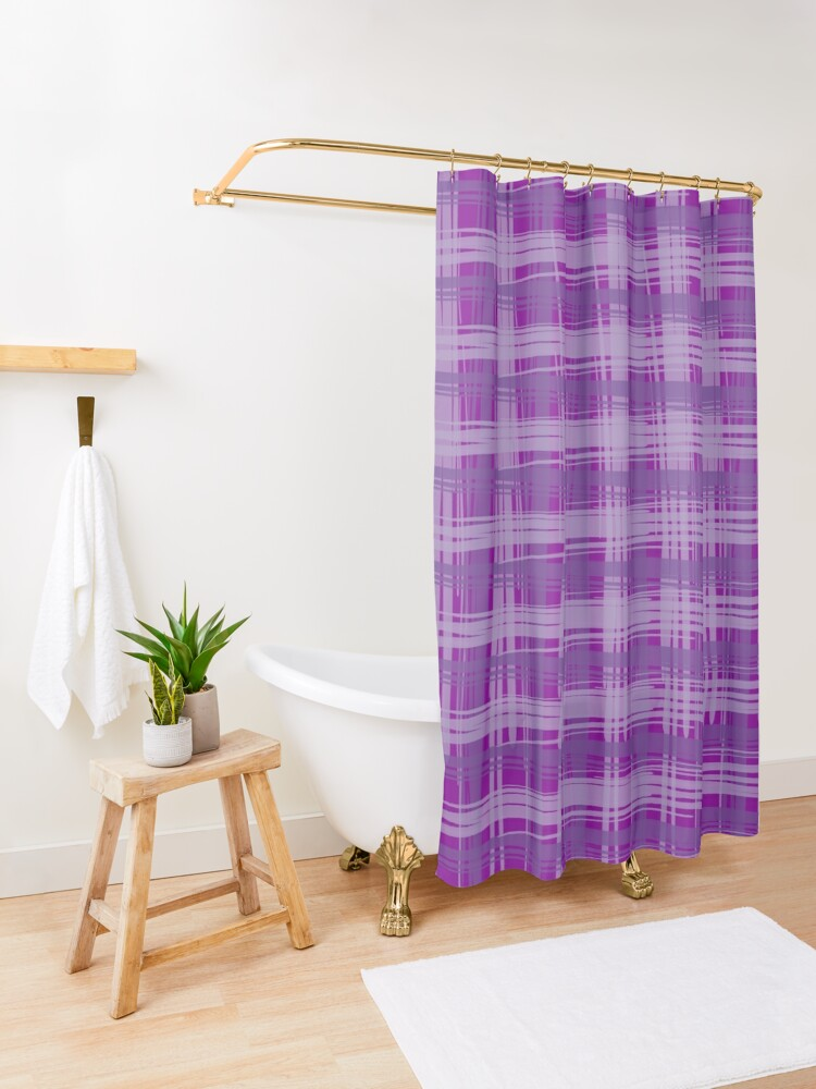 Alternate view of Plum Plaid Shower Curtain