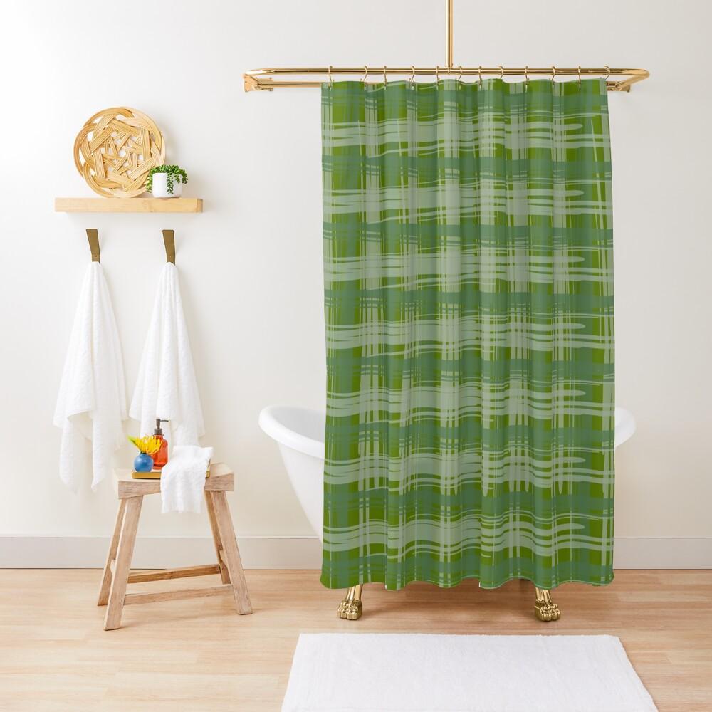 Basil Plaid Shower Curtain