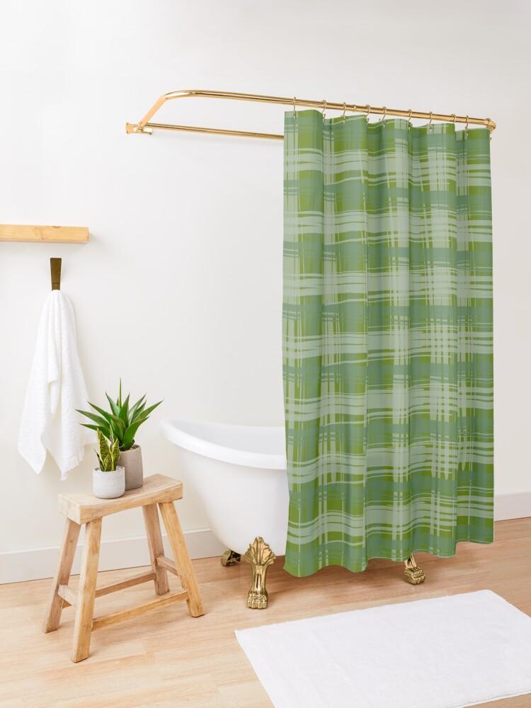 Alternate view of Basil Plaid Shower Curtain