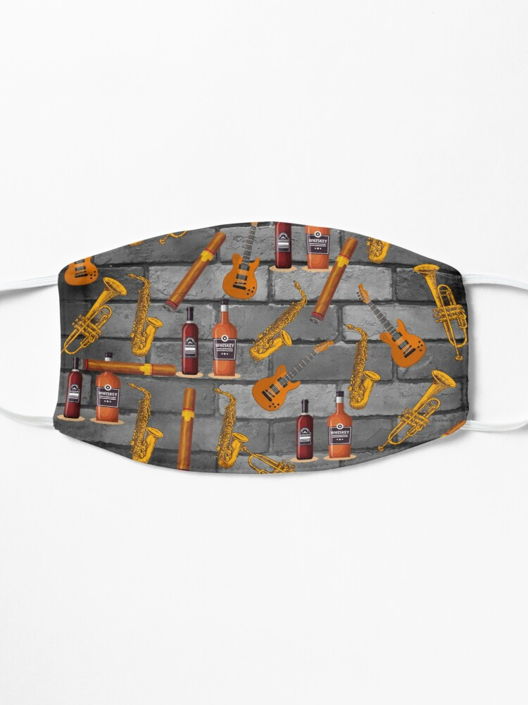 Alternate view of Jazz whiskey and cigars pattern Mask