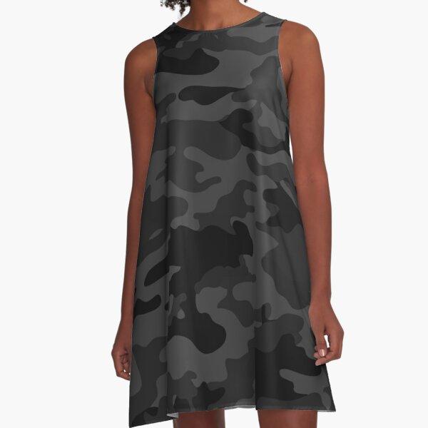 Black camouflage pattern A-Line Dress