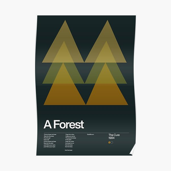 The Cure - A Forest 1984 - New Wave song Minimalistic Swiss Graphic Design Poster