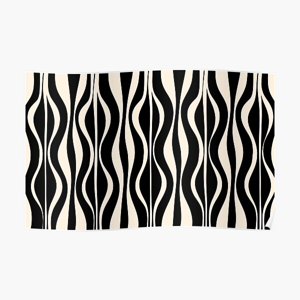 Hourglass Abstract Midcentury Modern Retro Mod Pattern in Black and Almond Cream Poster