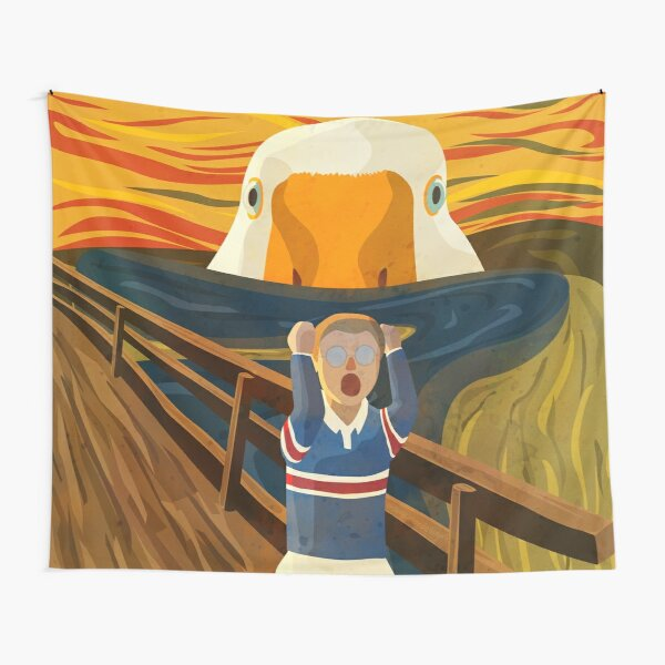 The Honk - Goose - The Scream Famous Painting Parody, Untitled, Meme ,Hjonk, Bonk, Canvas, Comic con Reusable Facemask, knife, Peace Was Never An Option Thematic Gift Tapestry