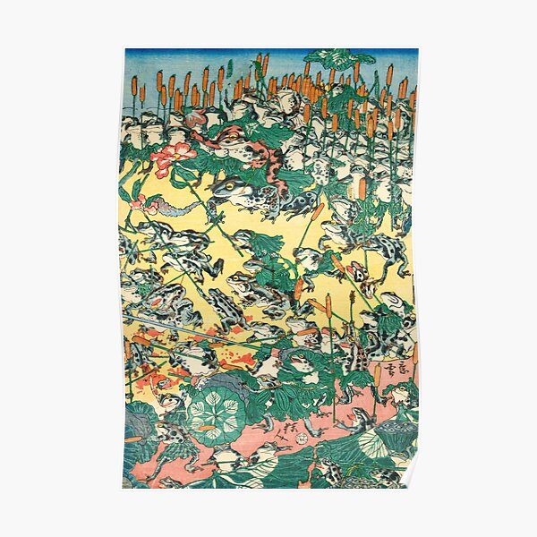 Fashionable Battle of Frogs by Kawanabe Kyosai, 1864 Poster