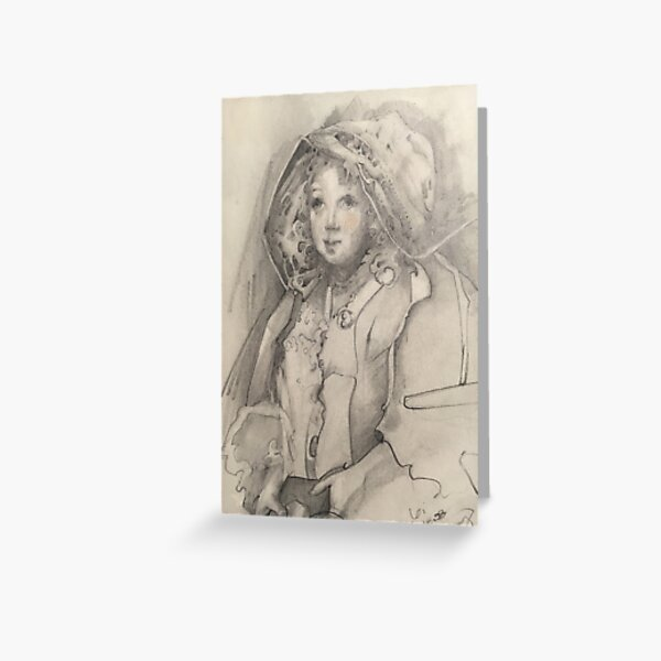 Pencil sketch of girl with a gift, looking up, hopeful, hooded, warm, dear Greeting Card