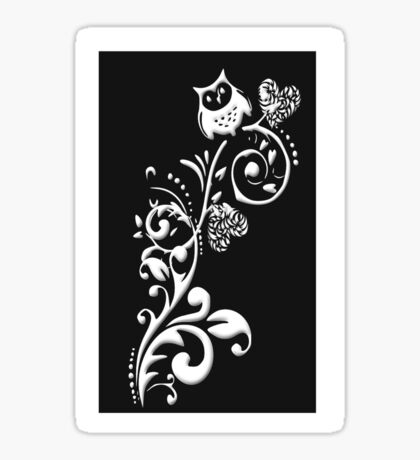 Owl on a Branch Pattern (White on Black) (4777 Views) Sticker